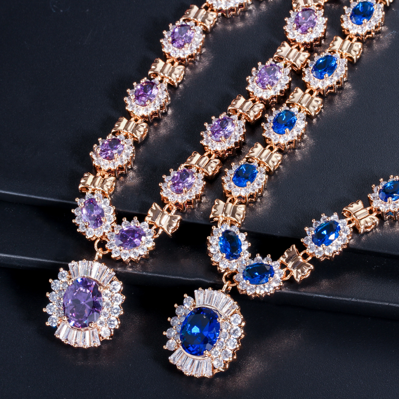 Image 4 - 4 Piece Luxury Light Yellow Gold Color Indian Wedding Party  Jewelry Sets Purple Cubic Zirconia Bridal Accessories For Women  T230accessories keychainsjewelry making accessoriesaccessories for  blackberry curve 8530