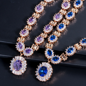 Image 4 - 4 Piece Luxury Light Yellow Gold Color Indian Wedding Party Jewelry Sets Purple Cubic Zirconia Bridal Accessories For Women T230
