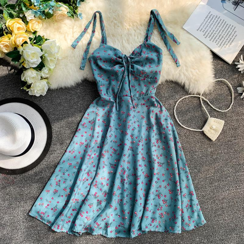 Strap V-Collar Flower Printing Drawstring High Waist A-Line Beach Dress 10
