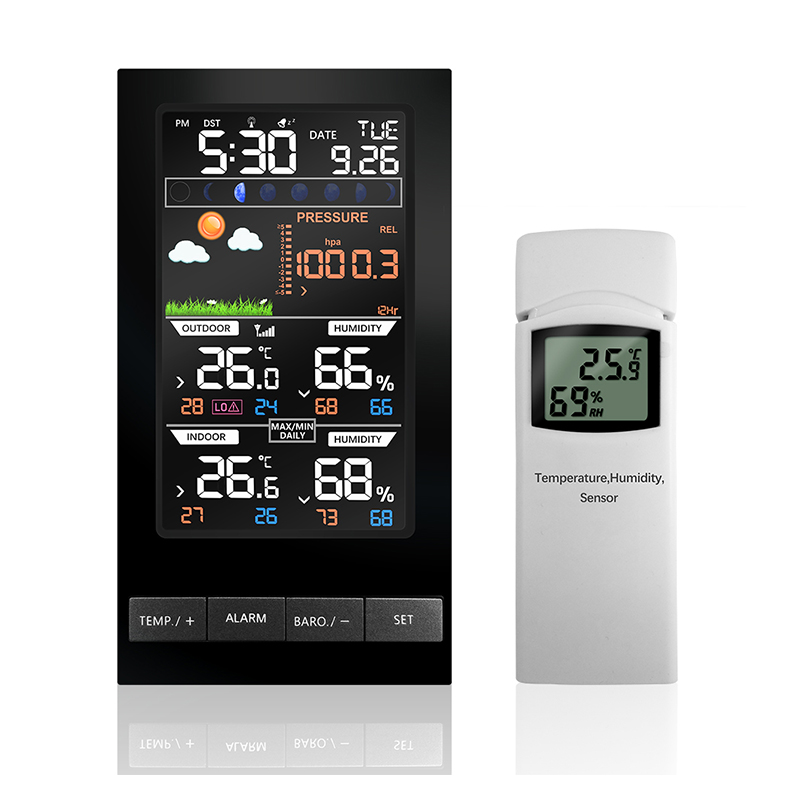 Weather Station Temperature Humidity Wireless Sensor Colorful LCD Display With Barometer