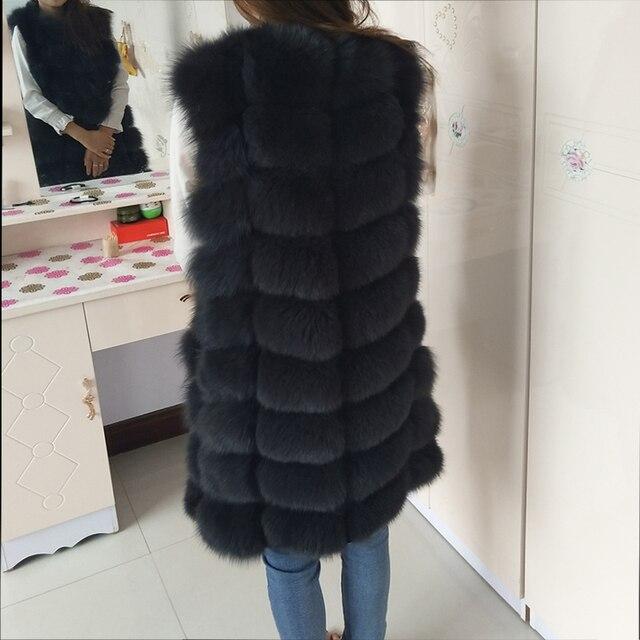 Natural Real Fox Fur Vest Natural Fur Coat For Jacket female coats Vest Waistcoat  long Fur Coats Real Fur Coat Fox Vest Jacket 3
