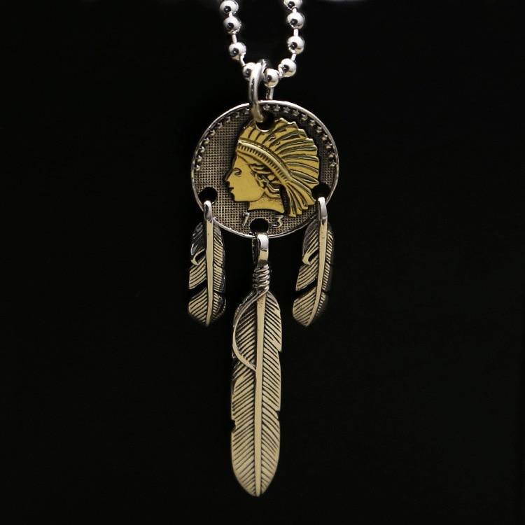 2019 nouvelle vente Asg Choker collier S925 fabricant de bijoux de mode en gros plume pendentif indien pièce pour hommes et femmes