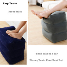 Inflatable Portable Travel Footrest PVC flocking Comfortable floor mat for car Airplane train use Car Accessories