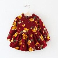 2017 nuevos modelos de invierno coreano Niñas más puro algodón ropa de boutique de los niños lindo caliente moda acanalada vestido de una pieza