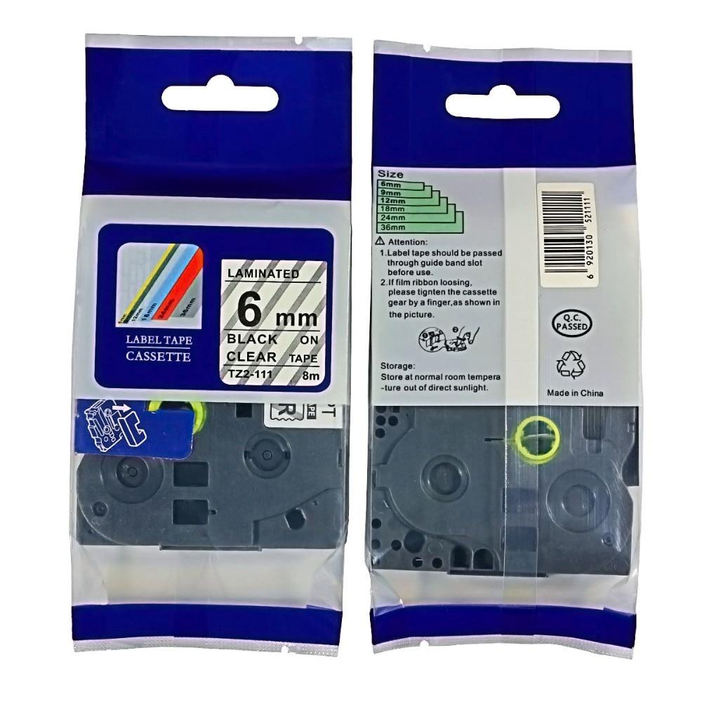 Gratis verzending 10PK zwart op clear Label Tape tze-111 Compatibel - Office-elektronica