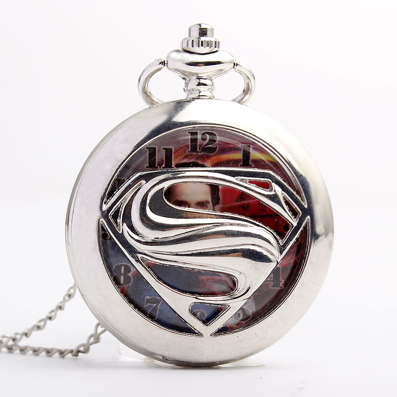 Unique Retrp Fashion Silver Superman Quartz Pocket Watch Men Women FOB Chain Hero Necklace Pendant Chian Lady Men Gift P510 otoky montre pocket watch women vintage retro quartz watch men fashion chain necklace pendant fob watches reloj 20 gift 1pc