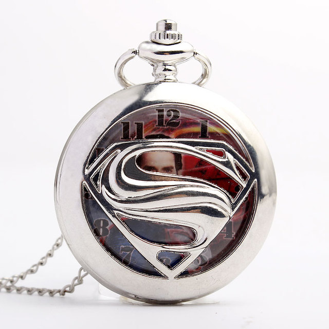 Unique Retrp Fashion Silver Superman Quartz Pocket Watch Men Women FOB Chain Her