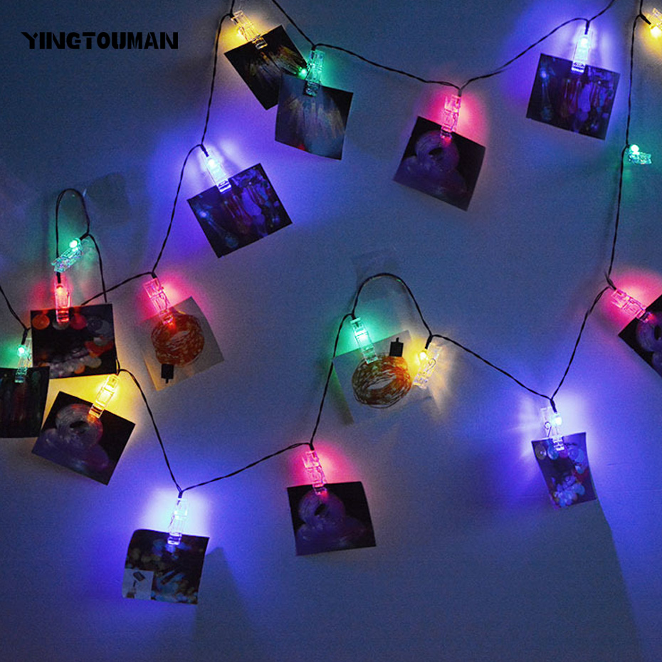 YINGTOUMAN Clamp 20LED Solar Powered Fiber Optic Fairy String Outdoor Christmas Holiday Party Garden Decoration Star Light 4.8m