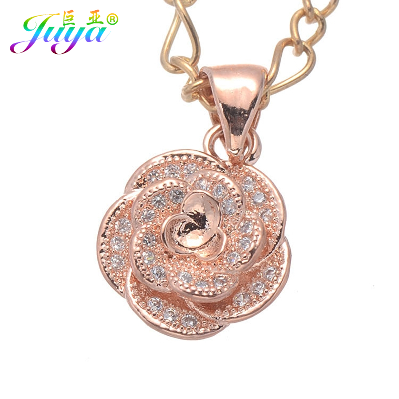 Rose Gold Color Metal Chain Rose Flower Pendant Necklace Zircon Micro Pave Jewelry Necklace For Women