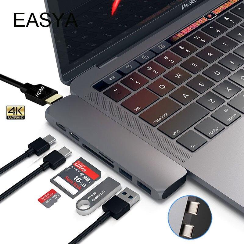 EASYA Dual USB 3.1 Typ C Hub Zu HDMI Adapter 4 Karat Thunderbolt 3 USB C Hub mit USB Hub 3,0 SD TF Slot PD für MacBook Pro 2017