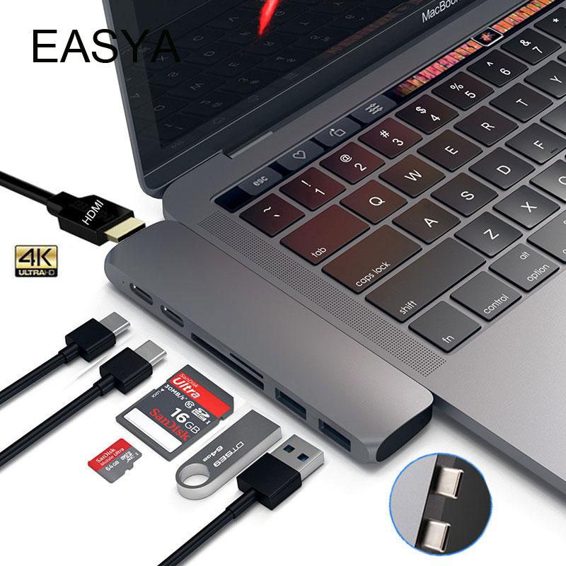 EASYA Dual USB 3,1 tipo C Hub a HDMI Adaptador 4 K Thunderbolt 3 USB C Hub con USB Hub 3,0 TF SD ranura PD para MacBook Pro 2017