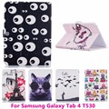 Cute Eyes Butterfly Flip Leather Tablet PC Case for Samsung GALAXY Tab 4 T530 Cover Anti-Dust Shell Protective Skin Bag Housings