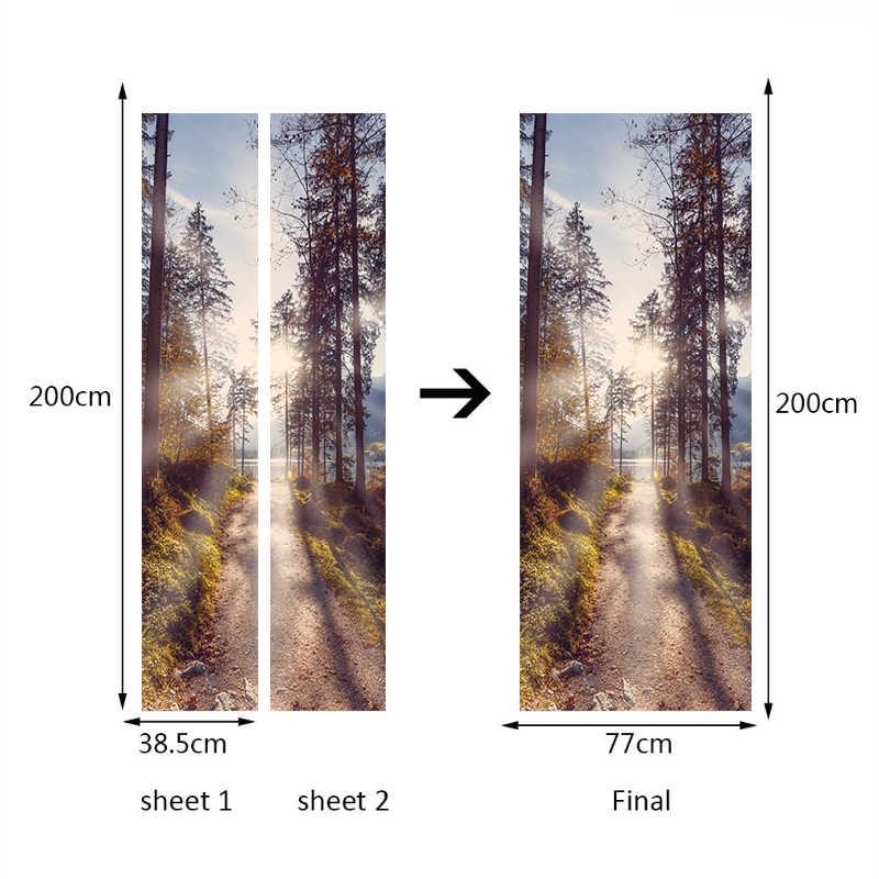 Съемный творческий Китайский стиль дерево леса глубины двери стикеры наклейки для обоев для гостиной украшения домашнего декора
