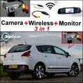 3 in1 Especial Câmera de Visão Traseira Sem Fio + Receptor + Espelho Monitor de DIY Fácil Sistema de Back Up de Estacionamento Para Peugeot 3008 2012 ~ 2014