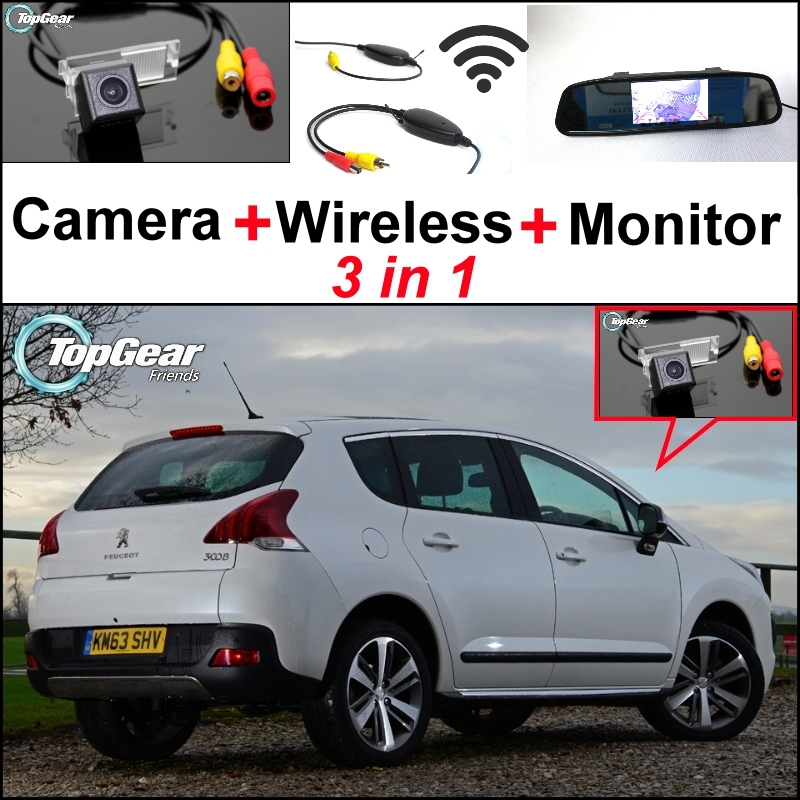 3 in1 Special Rear View Camera + Wireless Receiver + Mirror Monitor Easy DIY Back Up Parking System For Peugeot 3008 2012~2014 3 in1 special wifi rear view camera wireless receiver mirror monitor easy diy parking system for chevrolet malibu 2012 2014