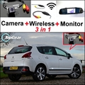 3 in1 Special Rear View Camera + Wireless Receiver + Mirror Monitor Easy DIY Back Up Parking System For Peugeot 3008 2012~2014