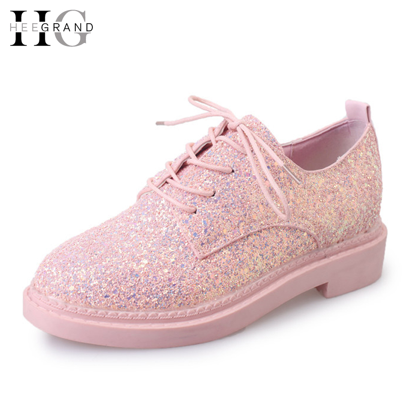 HEE GRAND Bling Glitter Oxfords 2017 New Platform Brogue Shoes Woman Lace-Up Flats Pink Creepers Casual Women Shoes XWZ3741 phyanic gold silver wedges sandals 2017 new platform casual shoes woman summer buckle creepers bling flats shoes phy4040