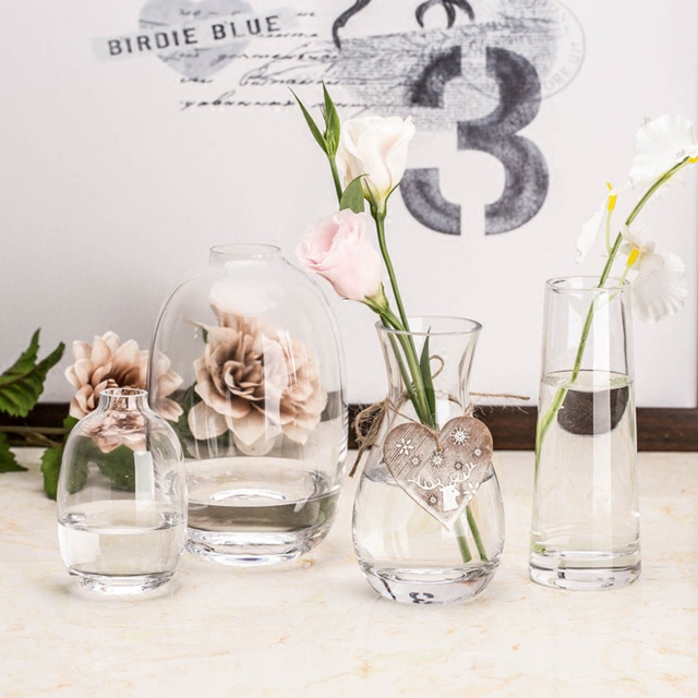 Modern Contracted Transparent Clear Glass Vase Mini Flower Vase