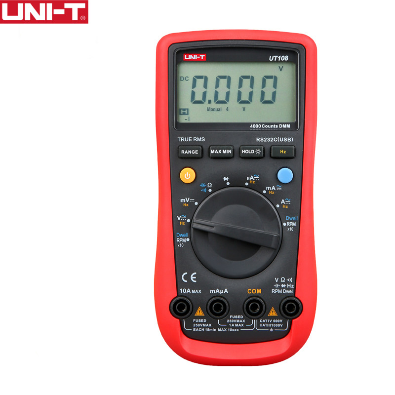 UNI-T UT108 Handheld Automotive Multipurpose Meters Auto Range Multimeter USB PC Connect AC DC V/A Ohm цена