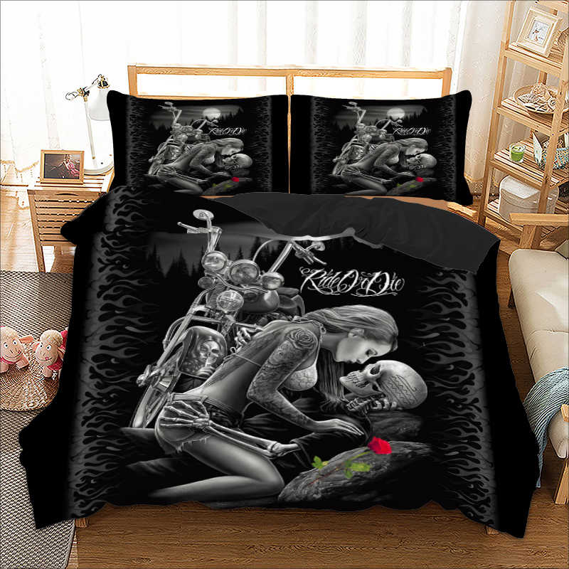 Gothic Skull / Monroe Bedding Set Twin Full Queen King Double Sizes Duvet Cover with Pillow Cases Rider Girl bed linens set