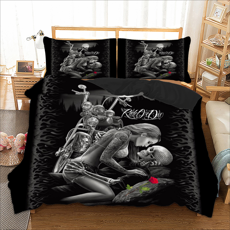 Skull Bedding Set Twin Full Queen King Super King Double Size Duvet Cover Quilt Cover Pillow Cases Sex Girl Rose Cool