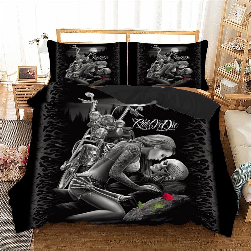 Skull Bedding Set Twin Full Queen King Super King Double Size Duvet Cover Quilt Cover Pillow Cases Sex Girl Rose Cool