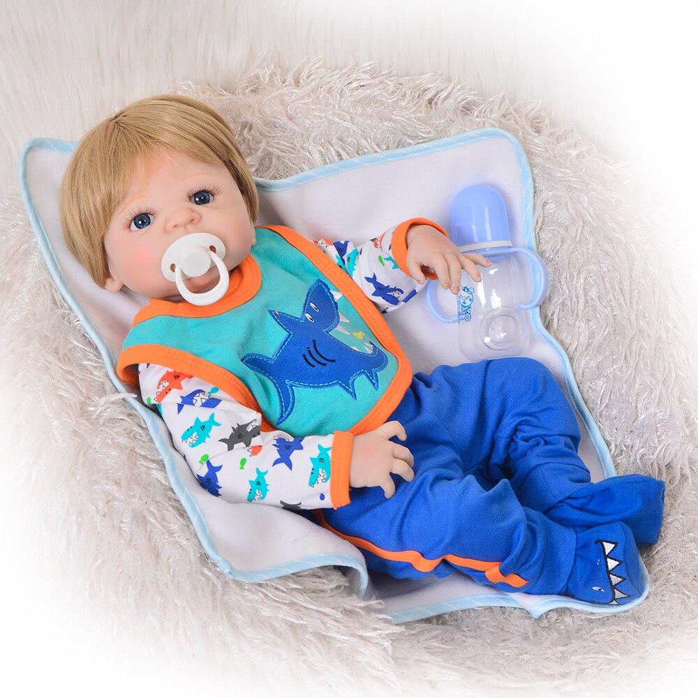 """Reallooking 23 """"57 centimetri Reborn Baby Boy Bambole Full Body In Vinile Del Silicone Bello Reborn Bambole Per I Bambini di Natale Di Compleanno regalo-in Bambole da Giocattoli e hobby su  Gruppo 3"""