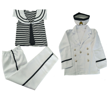 Kids Girl or Boy or Baby Navy Sailor Marine Stripe Costume Party Hat +Tops + Pant 4