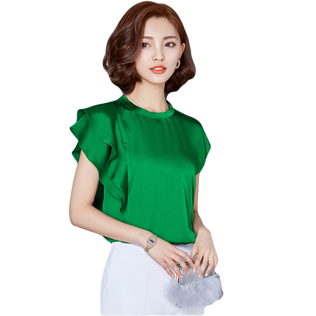 fb4dd0bfc4 2018 manga curta ruffles manga comprida de cetim branco blusas mulheres  mais camisa de seda tamanho