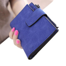 Women Purse Solid Color Mini Grind Magic Bifold Leather Wallet Card Holder Clutch Women Handbag Free Shipping  #2415