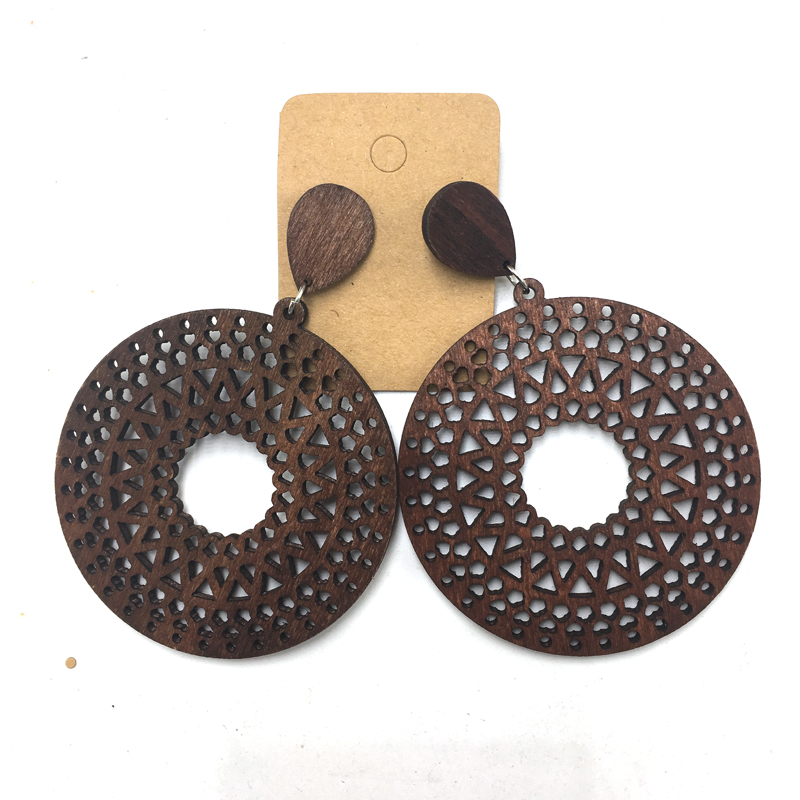5pairs/lot Laser cut Round Drop Wooden Earrings can mixed 3 colors