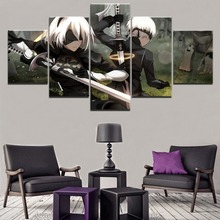 Wall Art Decorative Modular Picture 5 Pieces Game NieR Automata YoRHa 2B And 9S Painting Canvas HD Printed Poster Modern Artwork home decor living room 5 piece 2b back black shadow painting canvas hd print game nier automata poster wall art modular picture