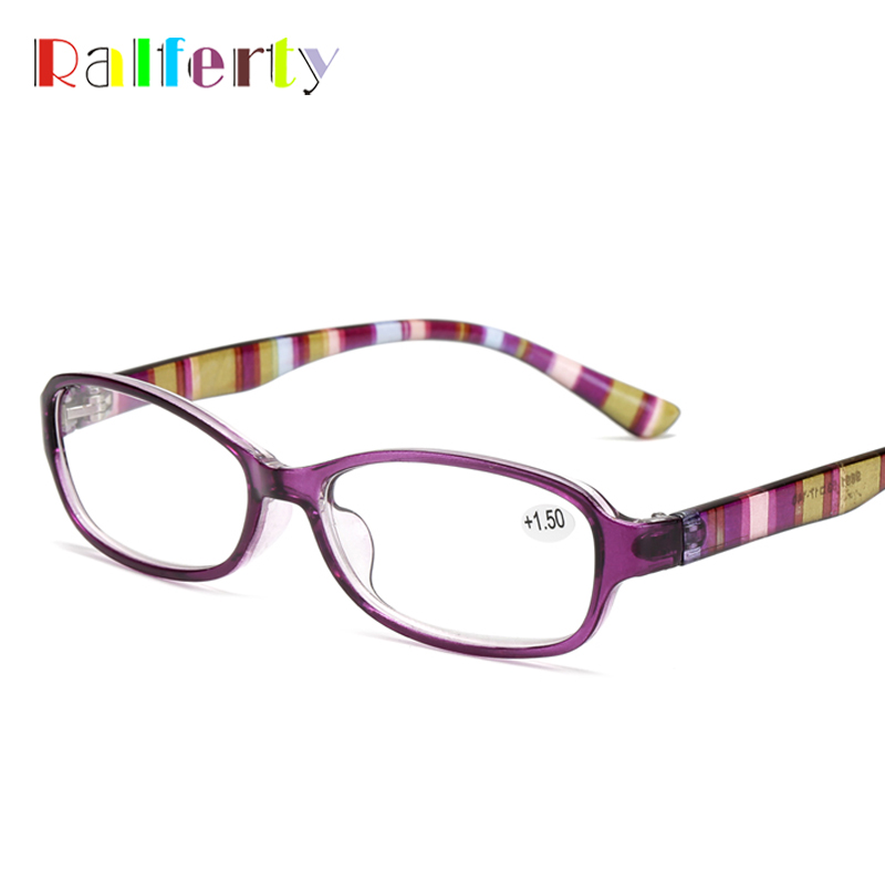 Ralferty Vintage Reading Glasses Women Anti-fatigue Presbyopia Glasses Striped Printed Diopter Spectacles Female Point A9891-1