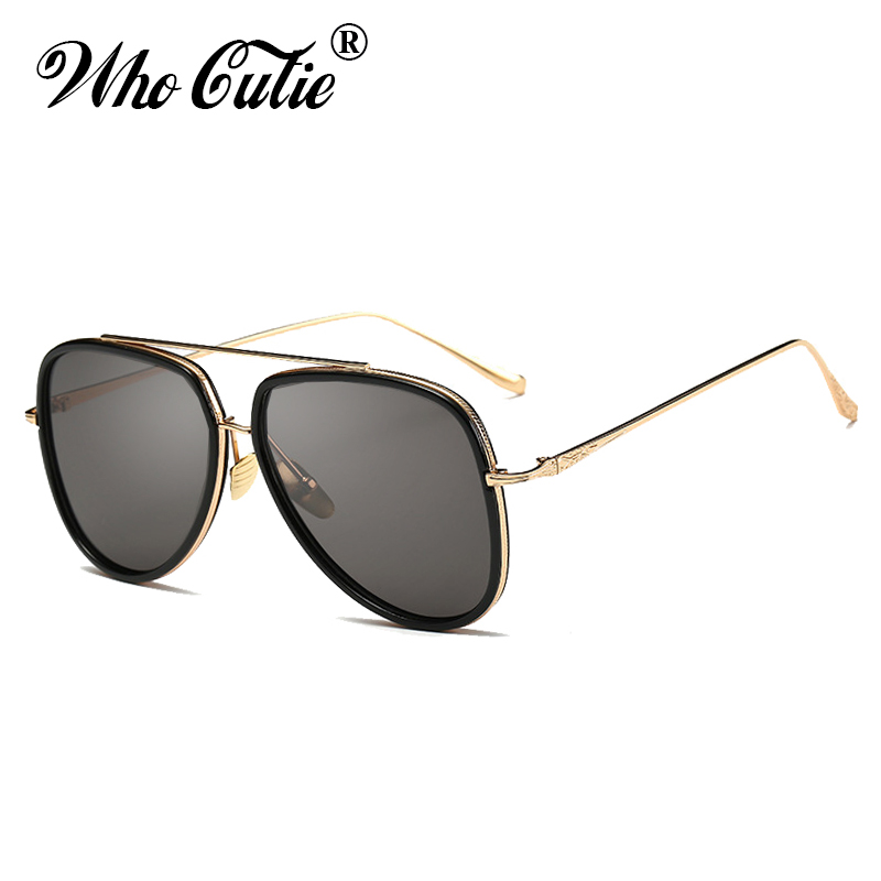 26bf2aa3c1 WHO CUTIE Vintage Aviation Sunglasses Men Brand Designer 2019 Gold Duble  Bridge Pilot Coating Mirror Lens Women Sun Glasses OM82