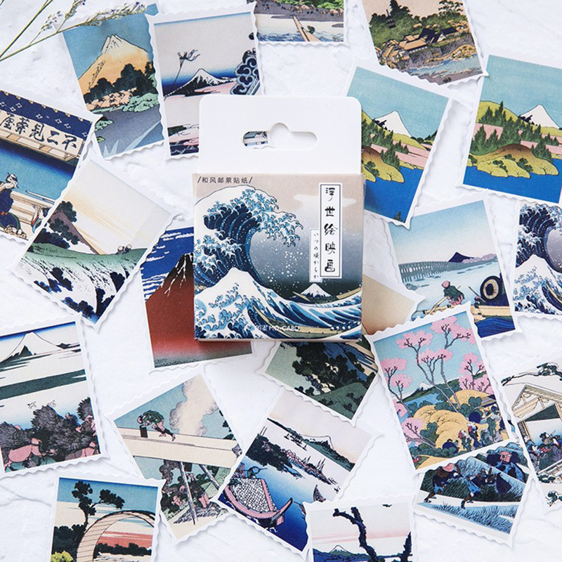 46Pcs/box Japanese Vintage Travel Landscape Sticker Scrapbooking Creative DIY Notepad Decorative Adhesive Sticker Stationery
