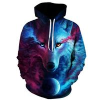 Hot Sale Brand Wolf Hoodies Men Women Space Galaxy 3D Sweatshirts High Quality Pullover Novelty Street