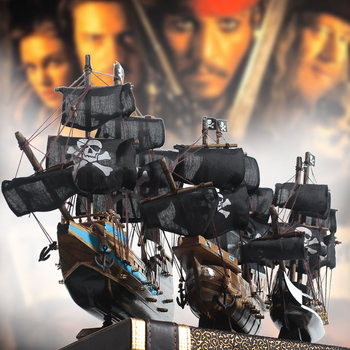 Pirates Of The Caribbean Kapal Model Hitam Mutiara Model Dekoratif Kapal Uap Solid Kayu Kerajinan Tangan Perahu Anak Hadiah