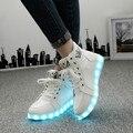 Размер 35-46 Зима СВЕТОДИОДНЫЕ Светящиеся Обувь Для Моды для Мужчин Свет Led Обувь Мужская Белый/Черный Высокий Верх Повседневные Растет обувь