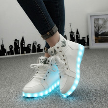 size 35-46 winter led luminous shoes for men fashion light up led shoes unisex white /black high top casual growing shoes