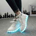 Tamanho 35-46 Inverno Sapatos Para Homens Moda Luz LED Luminoso Up Led Sapatos Unissex Branco/Preto de Alta Top Casual Crescente sapatos