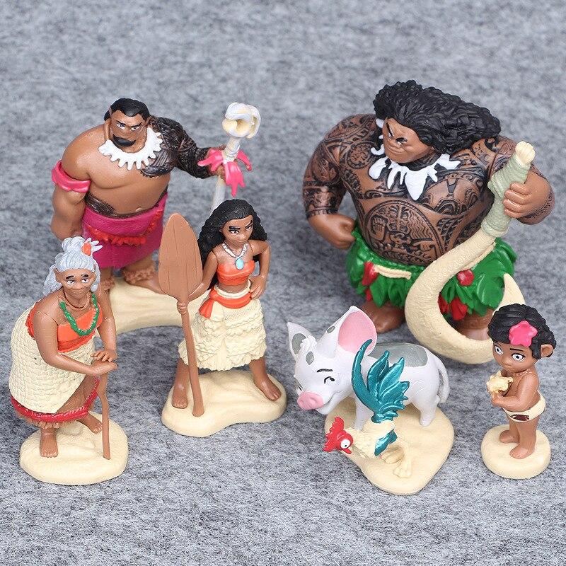 6 Pcs/Set Action Figures Moana Waialiki Maui Heihei Moana Maui Hanhan Adventure PVC Prin ...