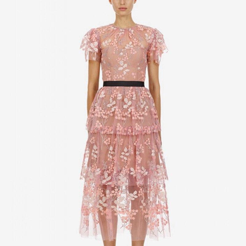2019 Self Portrait дизайнерское летнее подиумное Платье женское Цветочная вышивка торт платья женские элегантные розовые миди вечерние