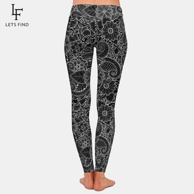 2019 New Fashion Women High Waist  Plus Size Black Leggings 3D  Printing Flowers Pattern Milk Silk Leggings Hot Sale 4