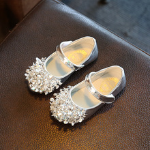 Princess Girls Shoes 2017 Spring Summer Fashion Flats Rhinestone Sequins Design Baby Children Shoes Kids Sneakers Silver Black