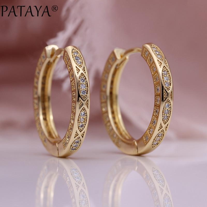 PATAYA nouveau 585 Rose or cercle boucles d'oreilles femmes de mariage bijoux blanc rond naturel Zircon luxe mode rétro grille boucle d'oreille