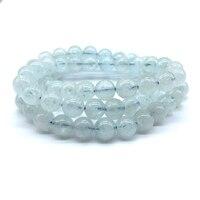 Beadztalk Natural Blue Aquamarines Bead Bracelet 7 8 mm Round Smooth Stone Bangle Elastic 3 Circles 61 cm Long