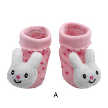 Cartoon Newborn Baby Girls Boys Anti-Slip Socks Slipper Boot Baby Girls Socks Newborn Soft Cute Rabbit Baby Socks S(0-12M)(China)
