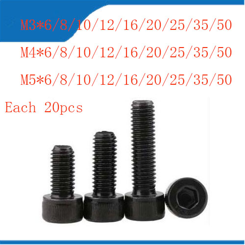 Metric Thread DIN912 M3/4/5 Carbon Steel Hex Socket Head Cap Screw Bolts Brand New цена