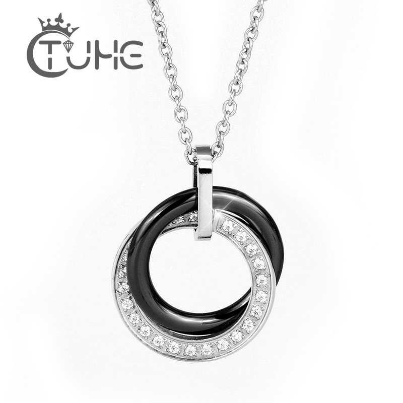 Ceramic Jewelry Double Circles Round Choker Necklace Women Black White Crystal Necklaces & Pendants Women Wedding Jewelry