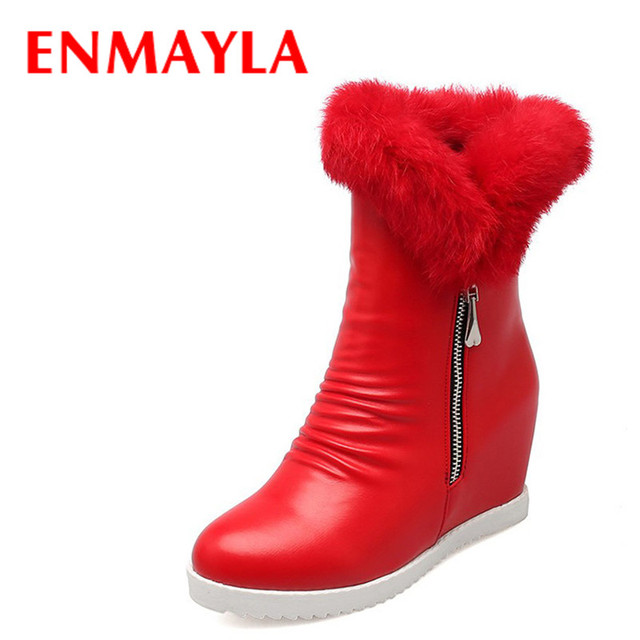 ENMAYLA Mid-calf Boots Shoes Woman Winter High Heels Snow Boots White Shoes Large Size 34-43 Zippers Round Toe Platform Boots